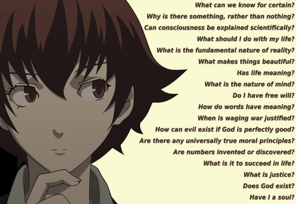 Some of the many questions philosophy asks.