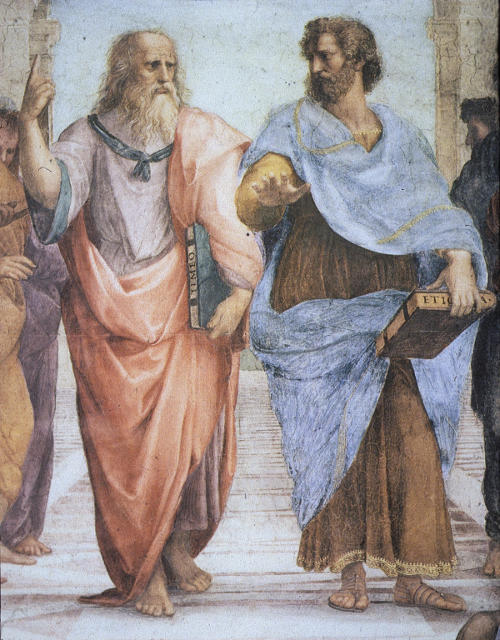 Raphael, The School of Athens, Plato and Aristotle Detail, 1509
